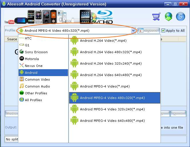 Choose outpur format, android video converter
