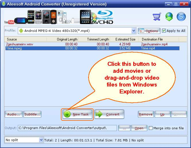 add video, android video converter