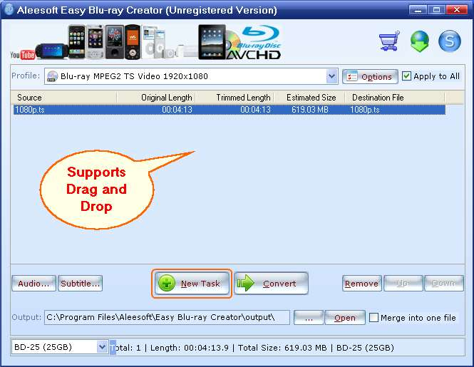 add mts video, Easy Blu-ray Creator