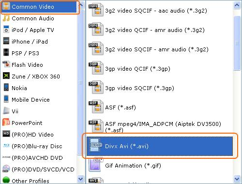Select AVI video format